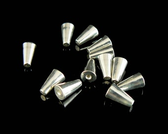 6.5 x 4 mm silver plated cone memory wire ends, 12 pcs