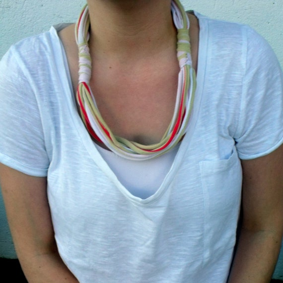 Upcycled Stripy T-shirt Necklace for Girl or Woman
