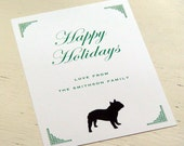 Happy Holidays Personalized French Bulldog Stationery - Flat Holiday Greeting Cards - Merry Christmas Notecards - Set of 10