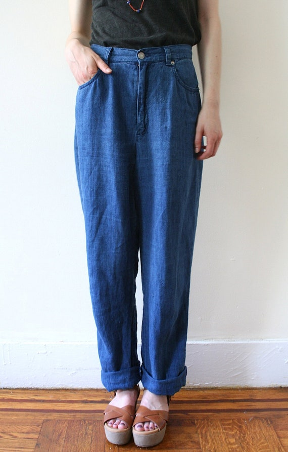Vintage 90s Ralph Lauren Linen Denim High-Waisted Jeans
