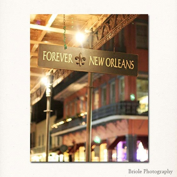 "New Orleans Photography, French Quarter Picture, ""Forever New Orleans"" Mardi Gras Print. Yellow Red. 8x10, 11x14, 16x20, 20x24, 24x30, 24x36"