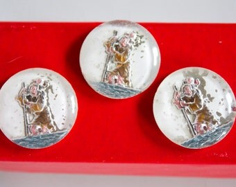 3 Rare Vintage Saint Christopher, Patron Saint of Travellers, Crystal Cabochons from the 1950s