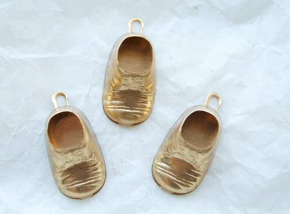 6 Brass Baby Shoe Charms vintage New Old Stock by