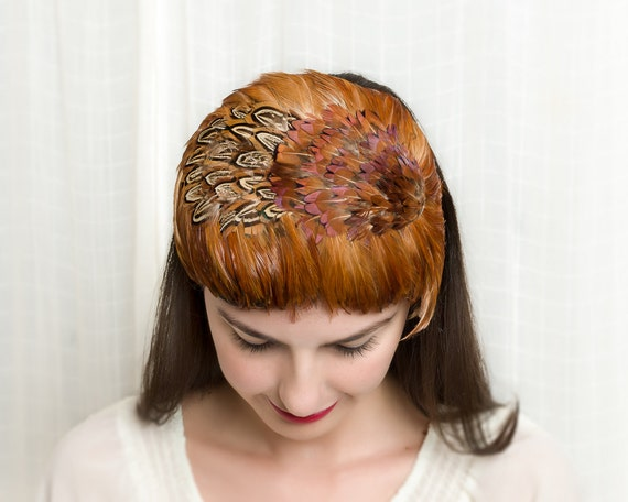 Vintage 1950s Hat - 50s Pheasant Feather Hat- Autumn Oranges & Browns