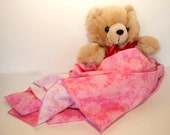 Medium Blankie - 30 x 31 Pink Patterned Deluxe with 3 Flankies
