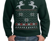 Mens ugly Christmas sweater -- Christmas Unicorn -- pullover sweatshirt -- s m l xl xxl xxxl