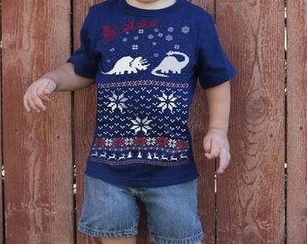DINOSAUR kids T SHIRT -- Dinosaur Christmas Sweater t shirt for Kids -- Toddler Dinosaur t shirt, boys dinosaur t shirt, Christmas dinosaur