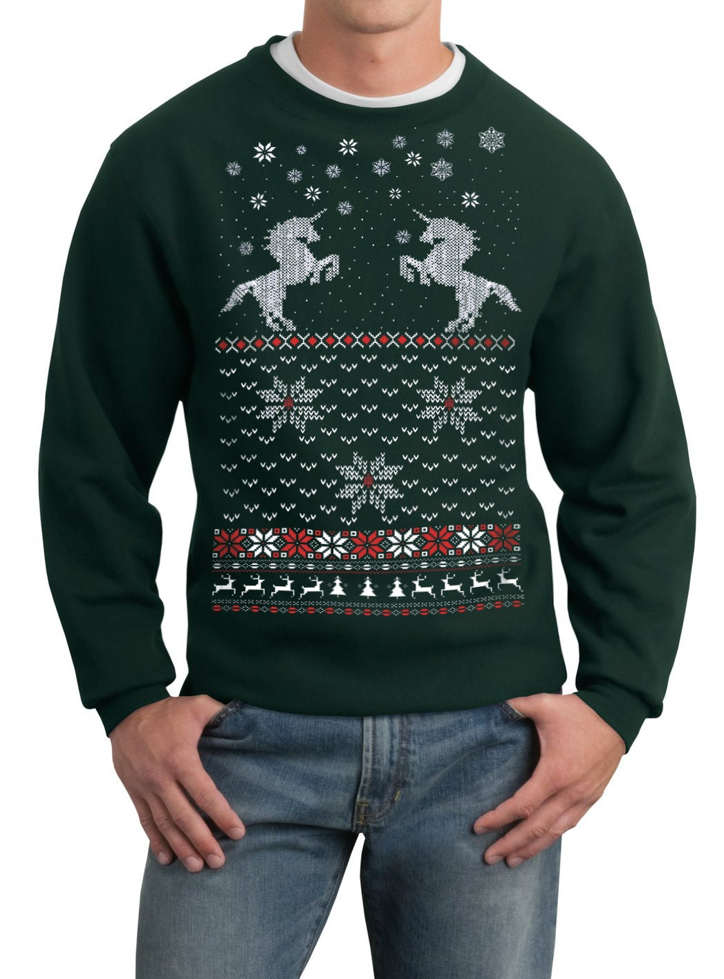 Mens ugly Christmas sweater Christmas Unicorn pullover