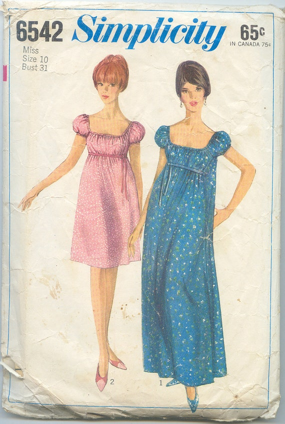 Vintage 1960s Sewing Pattern - Dress or Gown - Simplicity 6542 - Size 10 Bust 31