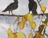 2 Ravens in Yellow Birch Giclee print of original batik on silk