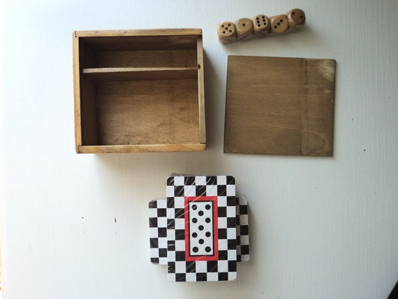 Small Wooden Cards and Dice Box with 2 decks and 5 dice pieces