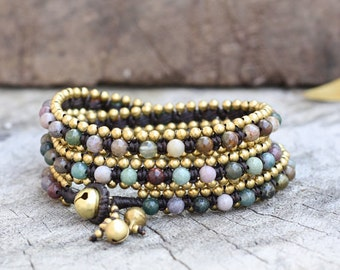 Fancy Jasper Wrap Brass Bracelet