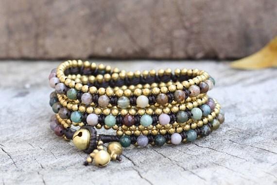 Fancy Jasper Wrap Brass Bracelet