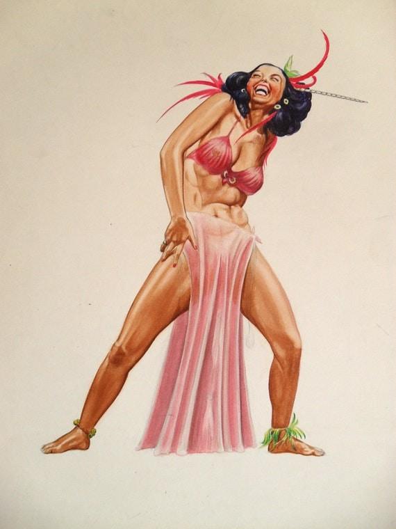 Vintage Original 1950s Exotic Dancer Gouache By