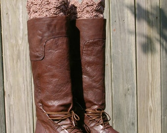 Boot Cuffs Boot Toppers in Taupe Brown Crochet Boot Socks