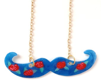 Moustache necklace - Floral Roses Pattern - donation to Dr Hadwen Trust Charity