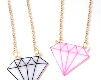 "Diamond Necklace Outline - ""Shine Bright Like A Diamond"" - Black Diamond, Pink Diamond - Tattoo Inspired - Hand Drawn"
