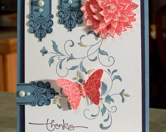 """Stampin Up CREATIVE ELEMENTS 5.5"""" x 4.25"""" - Birthday Card - Mother's Day - Thank You - Thinking of You - Sympathy"""
