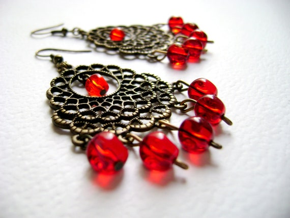 Valentines day - Lady in red - antique bronze scarlet red Earrings unique design