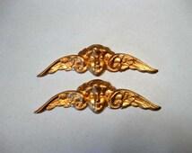 Beautiful RARE Vintage Pair of Brass WINGED CHERUB Stampings