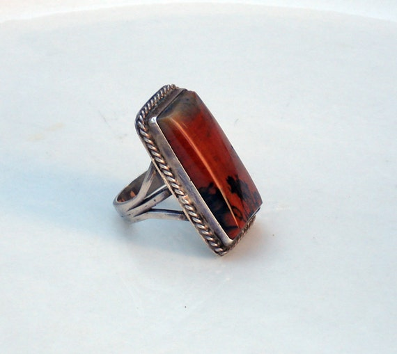 Mid Century Sterling Silver and Red Jasper Ring