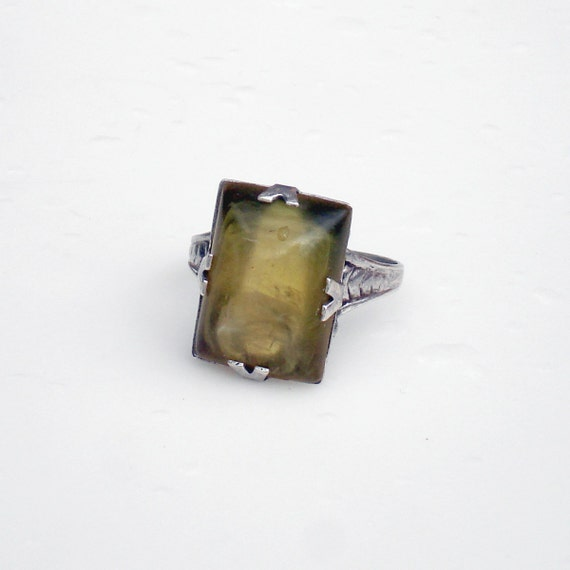 Art Deco Sterling Silver Uncas Ring with Olive Lucite Stone