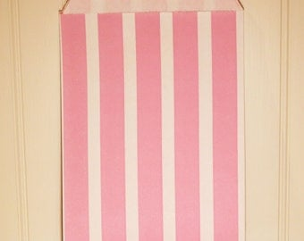 Paper Bag, 24 Pink Favor Bags, Treat Bag, Pink Vertical Striped Candy Bags, Baking Supplies, Party Favors, Cookies, Gifts, Bakery Paper Bags