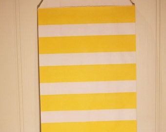 Paper Bags, Favor Bags, 24 Yellow Sailor Stripe Favor Bags, Party Favor, Baking Supplies, Candy Bags, Treat Bags, Wedding, Birthday Favor