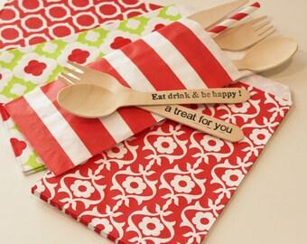 Paper Bags, Silverware Bags, 20 Red Sailor Stripe Bags, Cutlery Buffet Bags, Table Setting Bag,  Flatware Utensil Bags, Spoon and Fork Bag