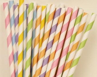 Paper Straws, 25 Rainbow Pastel Assorted Paper Straws, Rainbow Party, Pastel Paper Drinkging Straws, Vintage Wedding, Birthday Party, Babb