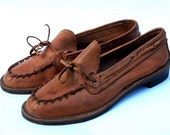 1940s leather moccasin loafers, size 6 - kickshaw