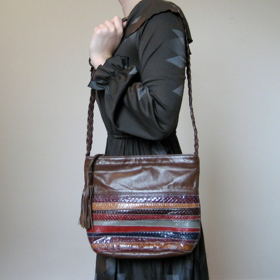 Reserved...Brown Purse / 1980s Snakeskin Striped Shoulder Bag / Fringed