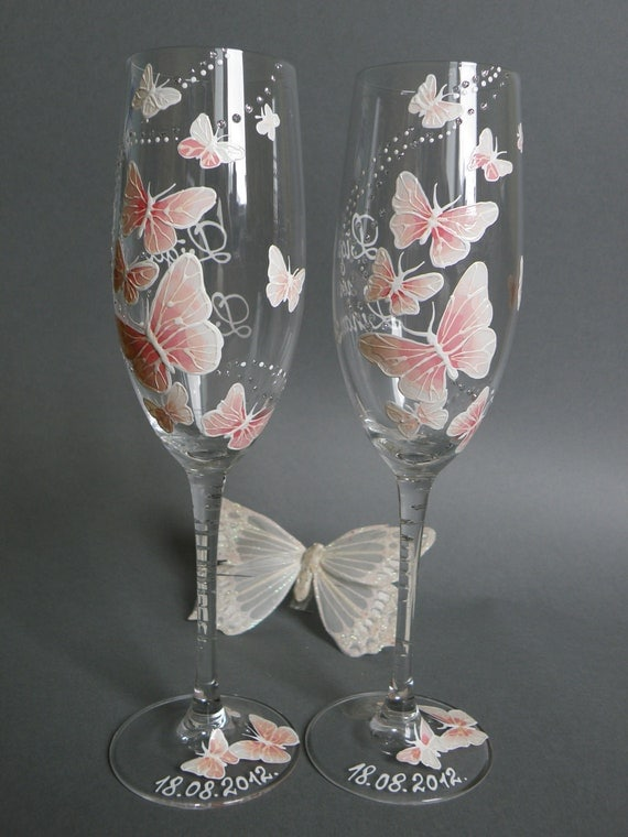 Hand Painted Wedding Glasses Like this item Hand painted Wedding