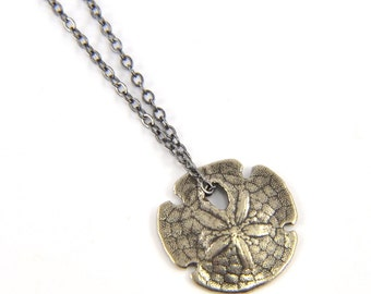 Tiny Sand Dollar White Bronze Necklace - Cast from a Real Sand Dollar