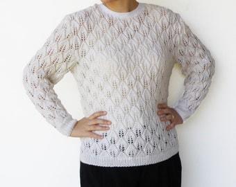 Vintage 1960s White Sweater / Handmade Leaf Pattern / Size M L