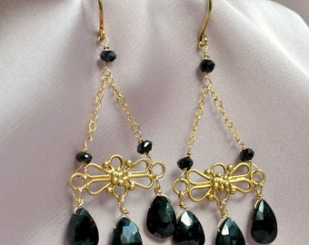 Black spinel chandelier earrings, handmade luxe earrings, genuine gemstone, long earrings, high fashion jewelry, ooak
