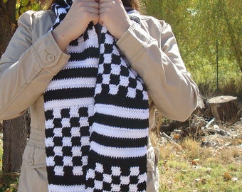 Checkers and Stripes Scarf for Men or Women, Black and White Scarf - Crochet, Checkered, Striped, Crocheted Scarf - Hoooked Scarves