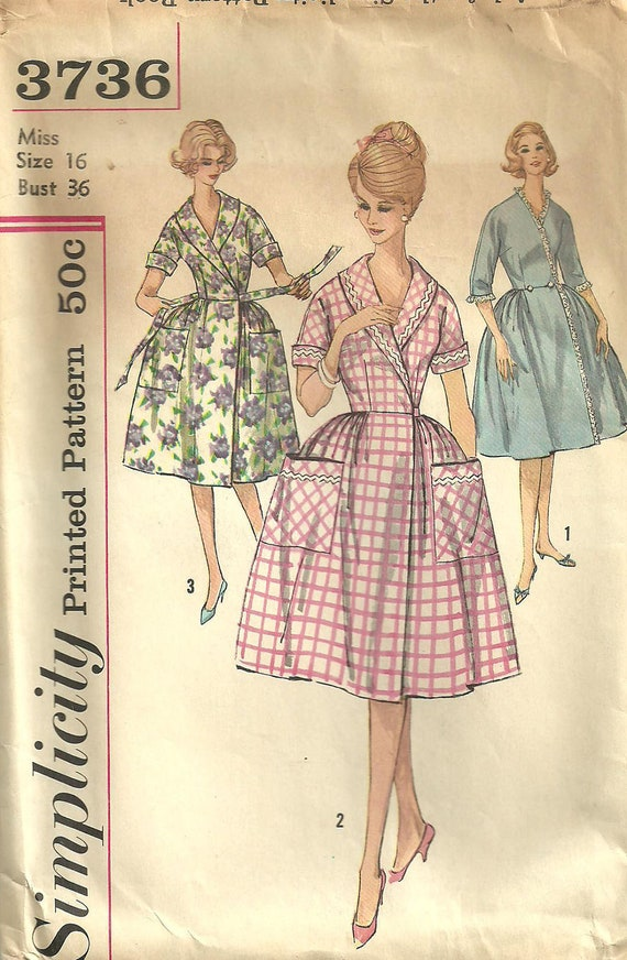 Simplicity 3736 Vintage Sixties Sewing Pattern Robe Size 16