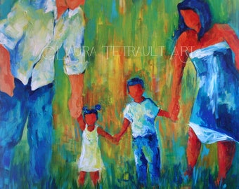 Unique Family Portrait Up to 5 People - 18x24   inches- Completely Customizable and Personal Acrylic Painting