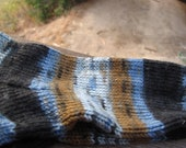 Hand knit socks, Womens small or youth med, blue brown pattern