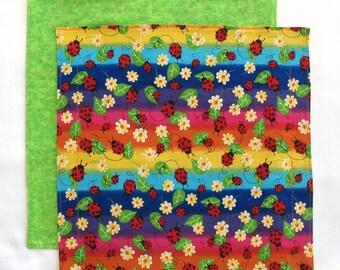 Cloth Lunch Napkin, Kids Lunchbox Napkin, Fabric Napkin, Rainbow Ladybugs, 1 double sided napkin