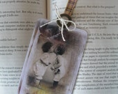 Hugs and Kisses Bookmark - Vintage Inspired -   with vintage mother of pearl button and brown ribbon topper  - 1 Laminated Bookmark
