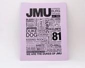 JMU Letterpress Print (Black Ink on Light Purple Paper)