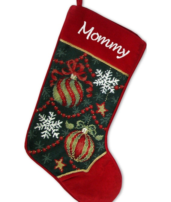 Needlepoint Christmas Stockings Ornaments Embroidered