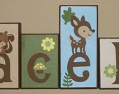 Custom Wood Blocks - M2M  Lamb & Ivy's Enchanted Forest - Camo / Forest Friends - Custom Wood Block Letters - Baby Letter Blocks
