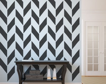 Herringbone Wall Decal, As Seen In Gray Magazine, Apartment Therapy, Geometric Decal, Chevron Decal, Modern Nursery Decor, Apartment Decor