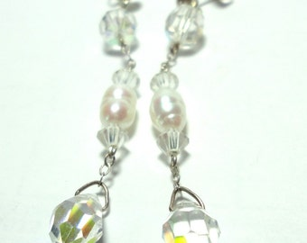 Crystal Earrings with FW Baroque Pearls and AB Crystal Long LInear Dangle Drop Earrings in Sterling Silver