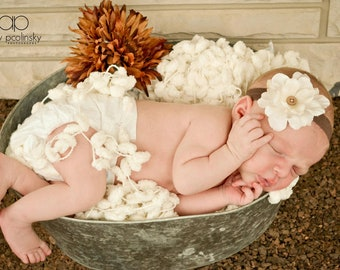 Baby Headband Coffee band with Cream flower...Baby Flower Headband...Hand Sewn...Flower Headband...Newborn Headband