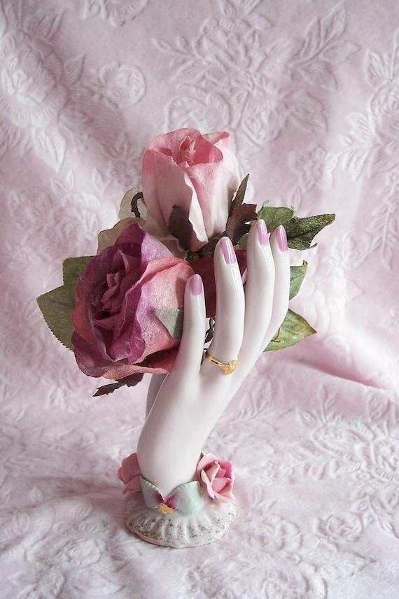 Rare Vintage Lefton Hand Vase Pink Rose By Pinkchicboutique