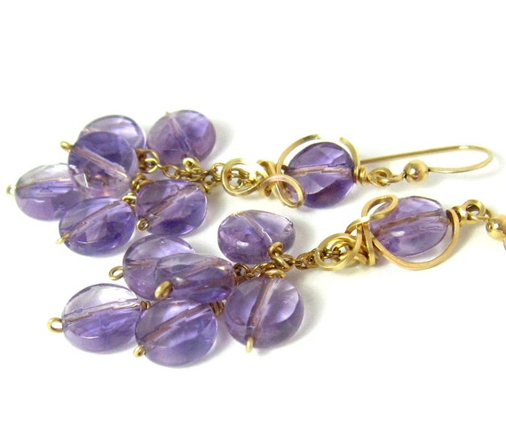 RESERVED LISTING Amethyst Gold Earrings, Elegant Light Purple Gemstone Long Cluster Birthstone Earrings